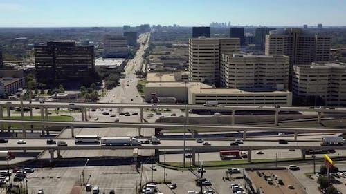 Interstate Freeway and bridges in Dallas, Texas, USA. 4K