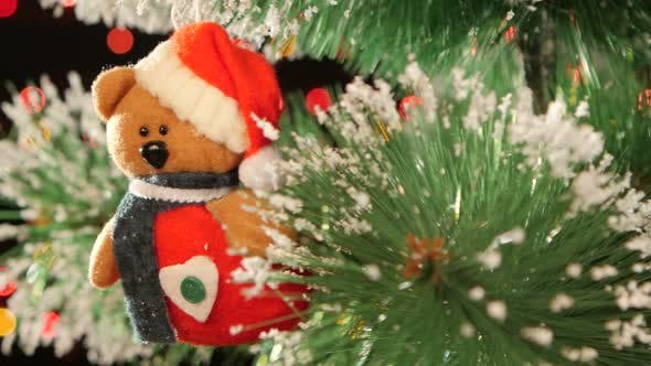 Unusual Decoration Like Teddy - a Toy on Christmas Tree, Bokeh, Light, Black, Garland, Cam Moves To