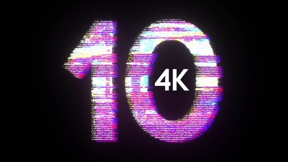 4k Glitch Countdown