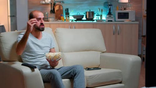 Sport Football Fan Watching Game Late at Night