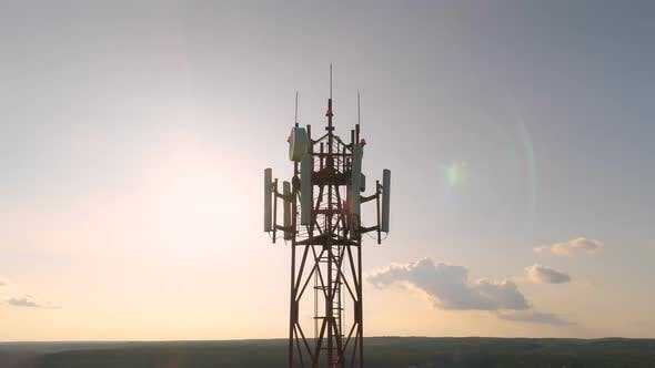 Thumbnail for Aerial View Around of the Cellular Telecom Tower