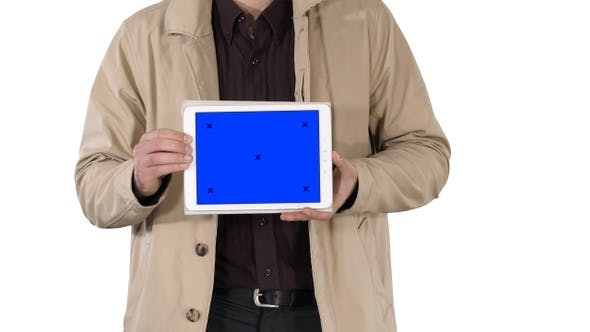 Thumbnail for Male hands holding tablet with blue screen mockup on white