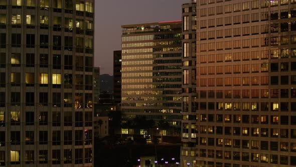 Thumbnail for City buildings at night in downtown Los Angeles