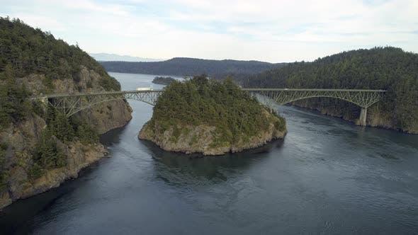 Thumbnail for Helicopter Film Revealing Washington State Landmark Bridge Over Puget Sound