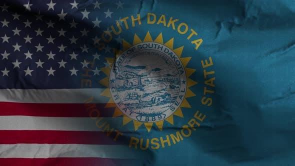 South Dakota State Usa Mixed Flag 4K