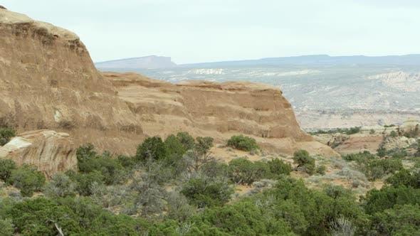 Panning sandstone layers.