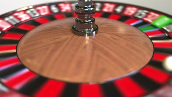 Cover Image for Casino Roulette Wheel Ball Hits 7 Seven Red