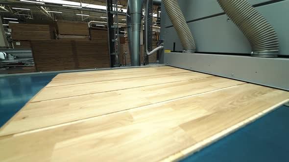 Moderne Parkettschleiftechnik in einer Holzbearbeitungsfabrik