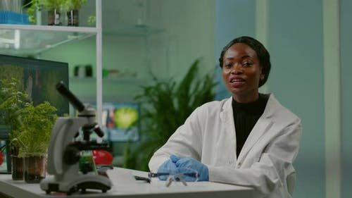 Pov of Chemist Scientific Woman Talking About Biotechnology Healthcare