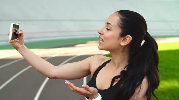 Thumbnail for Sport Woman Taking Selfie Photo on Mobile Phone at Stadium Track