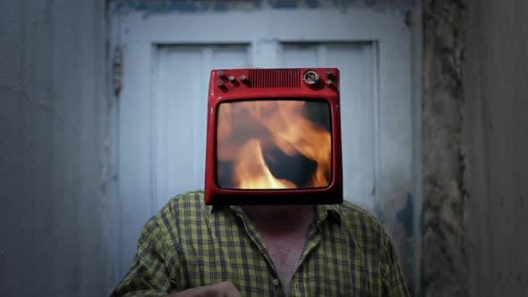 Fire Flames TV Man.