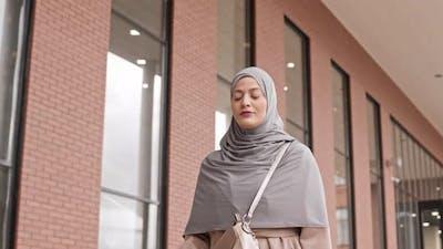 Arabic Woman Walking Outdoors