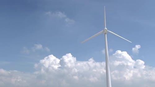 wind turbine on a background of clouds. solar energy, engineers. alternative renewable energy.