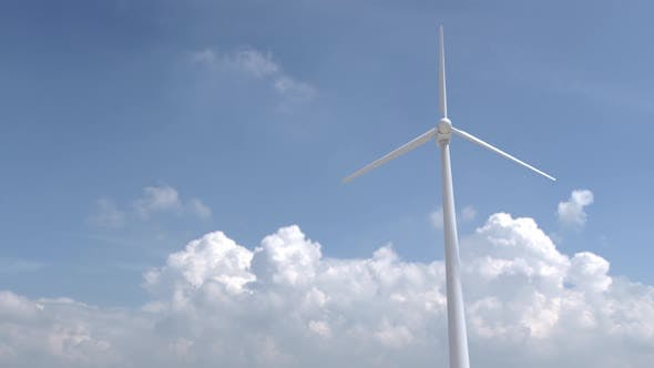 wind turbine on a background of clouds. solar energy, engineers. alternative renewable energy.