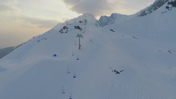 Thumbnail for Snowy Alps, Popular Resort for Extreme Sports, Snowgroomer Cleaning Ski Way