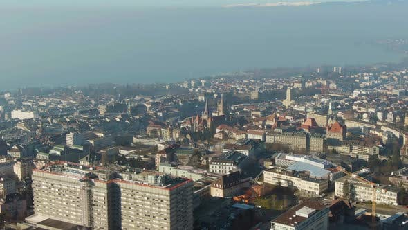 Thumbnail for Lausanne City and Lake Geneva. Vaud, Switzerland. Aerial View
