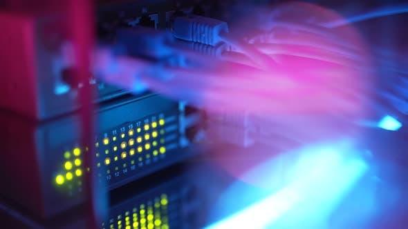 Close Up Fiber Optic in Server Room