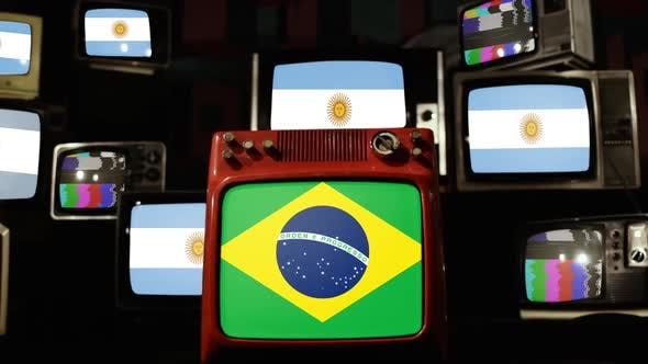Flags of Argentina and Flag of Brazil on Retro TVs.