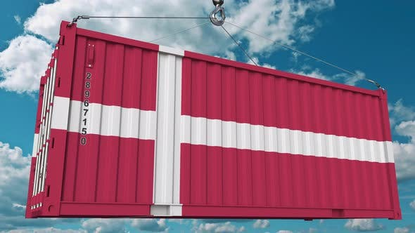 Thumbnail for Cargo Container with Flag of Denmark