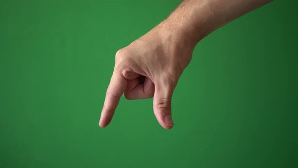 Close Up Hand Of Man Gesture Isolated On Chroma Key Green Screen Background