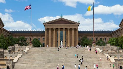 4 K Timelapse of People Moving in Front of The Philadelphia Art Museum Stairs Steps - Pennsylvania