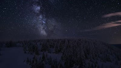 Milky Way Galaxy Winter Forest Mountain
