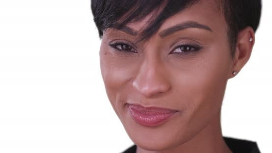 Thumbnail for Happy smiling black woman on white background looking at camera