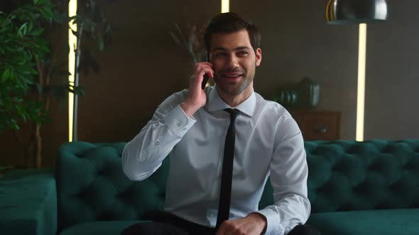 Thumbnail for Happy Businessman Talking on Smartphone, Professional Calling on Mobile Phone