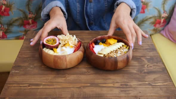 Thumbnail for Trendy Vegan Healthy Breakfast: Smoothie Bowl With Granola And Fruits