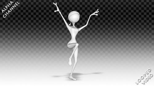 3D Frau Charakter - Cartoon Kung-Fu Tanz