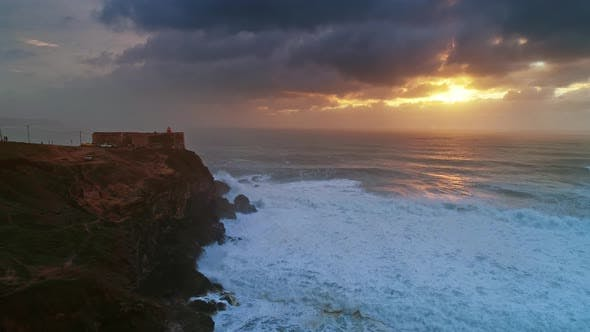 Thumbnail for Lighthouse on a Cliff with a Fortress in Nazare