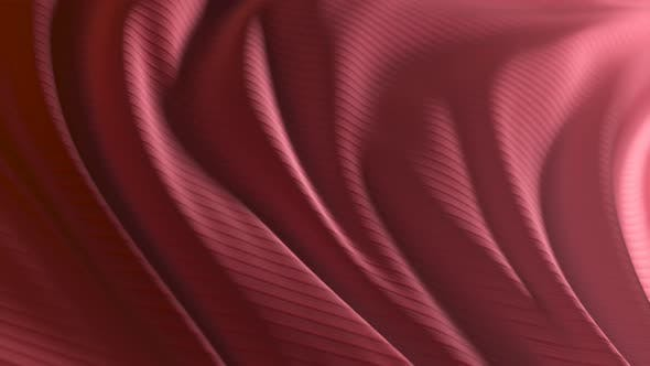 Animation of a Red Developing Fabric with Stripes