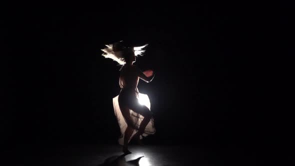 Thumbnail for Graceful Girl Practicing Contemporary in Dark Studio, Slow Motion