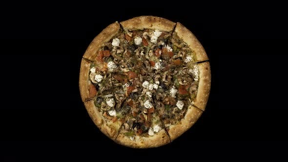 Thumbnail for Rotating Pizza with Smoked Sausage and Olives on a Black Background Top View Center Orientation