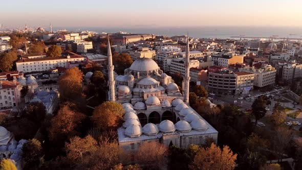 Sehzade mosque in Istanbul. View from a height at sunset in autumn.