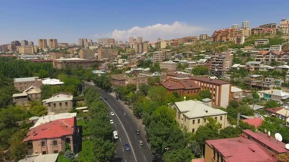 Thumbnail for Sunny Day in Yerevan Town, Aerial View of Old Buildings and Streets, Cityscape