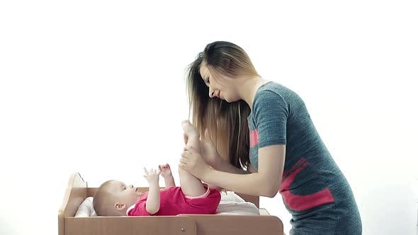 Mother Makes Massage Her Baby