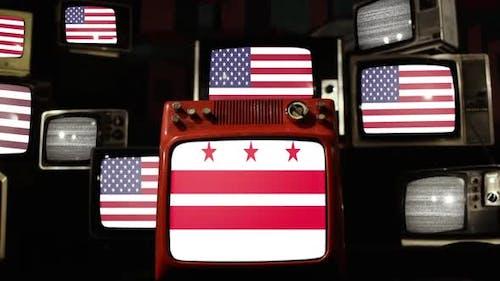 Flag of Washington, D.C. and US Flags on Retro TVs.