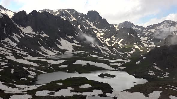 Glacier Lakes in Highland Mountains