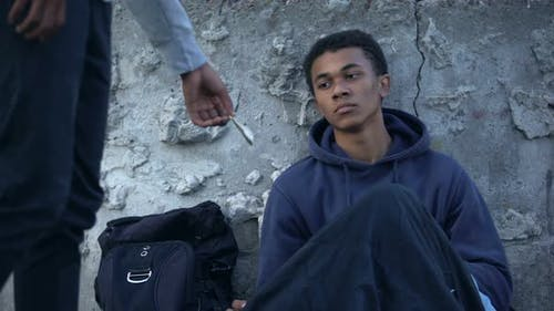 Black Homeless Teenager Receiving Money, Street Charity Kindness, Altruism