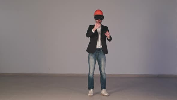 Thumbnail for Male Engineer Wearing Virtual Reality Googles Developing Construction Project