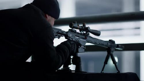 Killer with Assault Rifle at Position