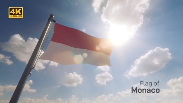 Thumbnail for Monaco Flag on a Flagpole V2 - 4K
