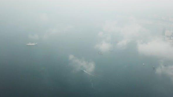 Aerial traffic sea in morning
