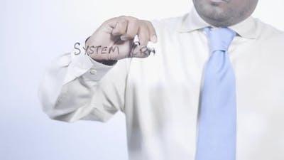 Asian Businessman Writes System Crash