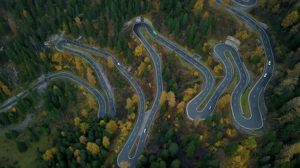 Thumbnail for Maloja Pass Switchbacks Road in Mountains
