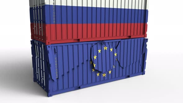 Thumbnail for Container with Flag of Russia Breaks Container with Flag of the EU