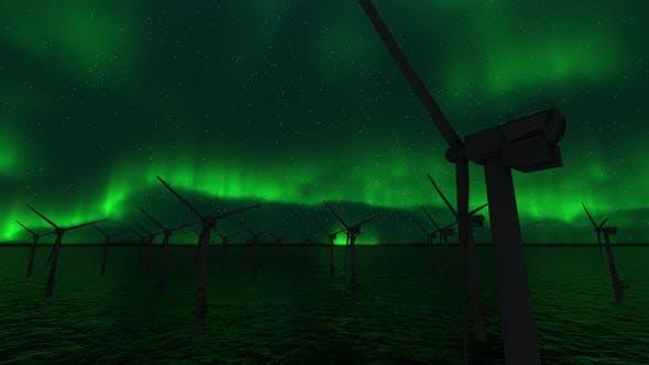 Thumbnail for Wind Turbine And Northern Lights Aurora Borealis
