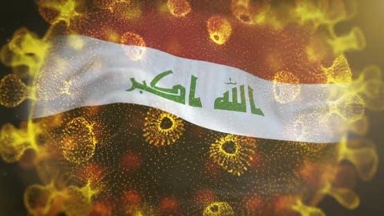 Iraq Flag With Coronavirus Microbe Centered