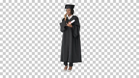 Thumbnail for African American female student in graduation, Alpha Channel